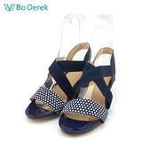 【Bo Derek 】圓點交叉彈性楔型涼鞋-藏青色