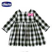 chicco-To Be Baby-方格長袖洋裝-黑