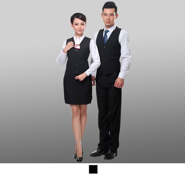 晶輝專業團體制服*CH015*酒店服務員工作服夏裝無袖工作服馬甲黑色餐廳飯店男女服務員制服