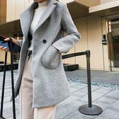大衣 素色 毛呢 口袋 鈕釦 修身 西裝外套 長袖 大衣 外套【NDF5458】 ENTER  11/01