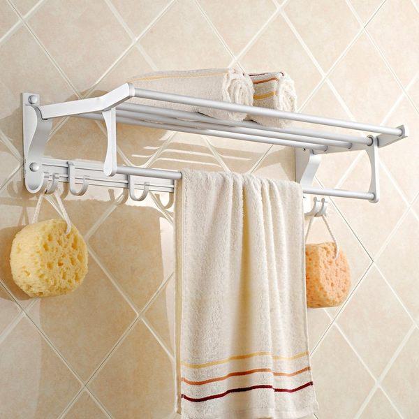 小熊居家毛巾架 浴巾架 太空鋁 浴室 折疊型帶五活動鉤 浴室掛件特價