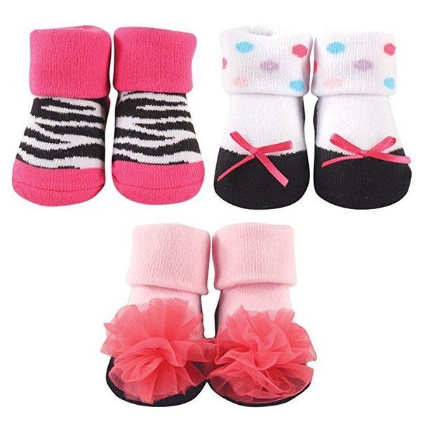 嬰兒襪/寶寶襪 Luvable Friends 嬰兒反摺襪3入組-芭蕾粉紅 07172