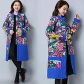 冬裝新款棉麻民族風拼色盤扣加厚長款棉衣女裝插肩袖外套洋裝 618降價