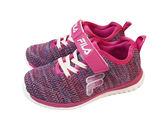【 FILA 】 舒適鞋墊 輕量鞋 魔鬼氈 針織 中大童 慢跑運動休閒鞋 (2-J828S-999) 紫【雙惠鞋櫃】