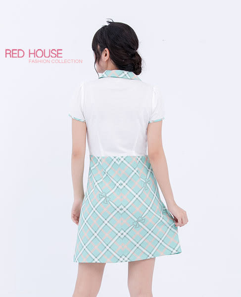 RED HOUSE-蕾赫斯-POLO衫拼接蝴蝶結短袖洋裝(共2色)
