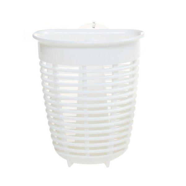 廚房浴室強力吸盤收納掛籃 水槽海綿瀝水籃收納架 (大號)-白色【魔小物】「現貨1」