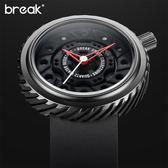 Break Watch 手錶 機動車齒輪列 生活防水 日本石英機芯  防水 強化玻璃鏡面