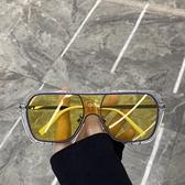 超酷不規則方框一體大框太陽鏡蹦迪眼鏡素顏網紅街拍墨鏡女圓臉潮 童趣屋 免運
