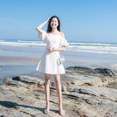 2018夏季新款女裝甜美一字肩露肩蝴蝶結喇叭袖吊帶裙小禮服連衣裙   夢曼森居家