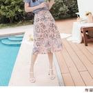 《CA2365-》浪漫滿版印花修身後鬆緊A字長裙 OB嚴選