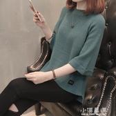 2019春秋新款中袖女裝針織衫韓版大碼毛衣寬鬆七分袖短款上衣外套『小淇嚴選』