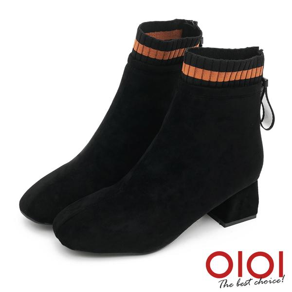 短靴 異材拼接造型粗跟短靴(黑)*0101shoes【18-1269bk】【現貨】