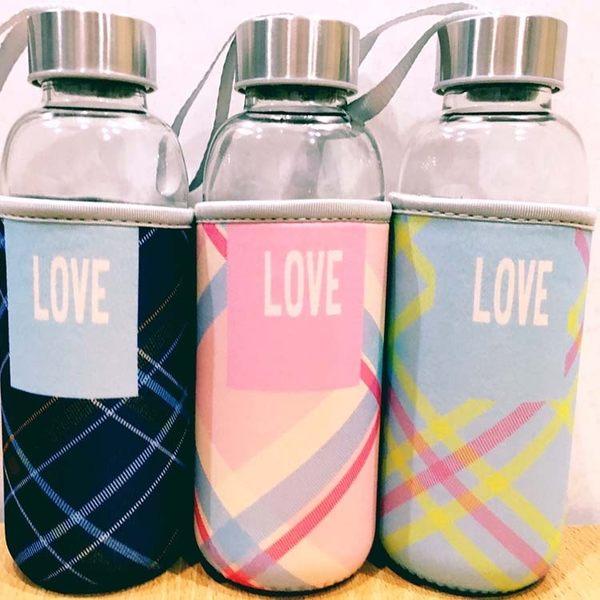 水杯【KCG099】Love蘇格蘭紋杯套玻璃水杯450ml 水瓶 瓶子 咖啡杯 隨行杯 水壺-123ok
