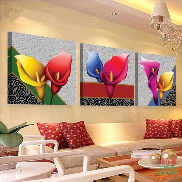 無框畫裝飾畫仿立體畫百合花開歐式客廳裝飾三聯畫沙發背景