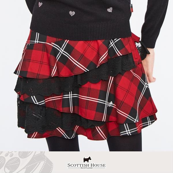 紅黑格 斜裁不對稱蕾絲蛋糕格短裙 Scottish House 【AM2118】