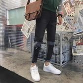 彈力牛仔褲男秋季青年拉鏈休閒束腳褲潮流男生褲拼接款修身小腳褲 森雅誠品