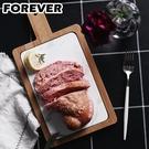 【日本FOREVER】北歐時尚竹製大理石輕食盤/附柄托盤(18X34)