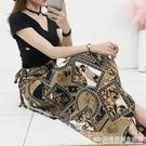 波西米亞沙灘裙泰國裹裙碎花雪紡包臀系帶長裙不規則一片式半身裙 完美居家生活館