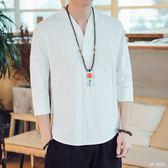 大碼休閒唐裝 t恤男七分袖純色打底衫潮牌寬鬆漢服半袖T恤上衣 QG29272『bad boy時尚』
