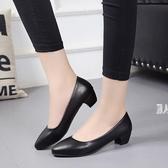 職業大尺碼女鞋 單鞋黑色皮鞋中跟工裝Ol正裝淺口尖頭空姐女鞋 JA5149『麗人雅苑』