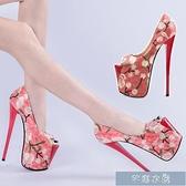 偽娘鞋繡花高跟鞋女22公分民族風大碼40-43碼恨天高20cm紅色男偽娘反 快速出貨