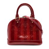 【台中米蘭站】展示品 Louis Vuitton 漆皮壓紋雙色 Alma BB 兩用包(M91593-紅)
