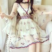 波西米亞刺繡花朵蕾絲喇叭袖氣質V領收腰漢服連身裙夏  萌萌小寵