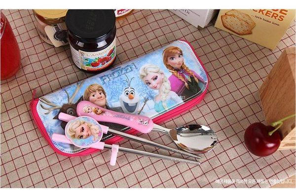 *妮好快樂*韓國直送_冰雪奇緣不鏽鋼學習筷組(附收納袋)