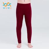 【WIWI】MIT溫灸刷毛九分發熱褲(醇酒紅 童70-150)