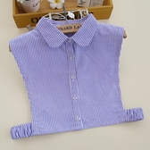 假領子假領片假衣領韓版基本款百搭藍色條紋圓領襯衫 [E1213]  滿額送愛康衛生棉預購.朵曼堤洋行
