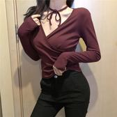女T恤上衣2019春裝新款正韓性感V領交叉長袖T恤修身領口綁帶上衣打底衫女裝