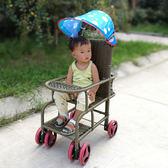 仿藤推車夏季嬰兒車椅兒童寶寶童車竹編竹推車仿竹藤音樂藤椅藤編igo『韓女王』
