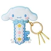 〔小禮堂〕大耳狗 造型矽膠夾式鑰匙圈《藍白.大臉》掛飾.鎖圈.萬用夾 4901610-14753