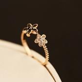 戒指 玫瑰金純銀 鑲鑽-優美茶花生日情人節禮物女飾品73by53【時尚巴黎】