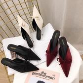 韓版蝴蝶結半拖鞋女外穿2019新款時尚包頭涼拖尖頭穆勒鞋782-13