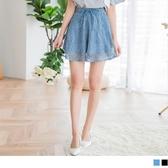 《BA4142-》滿版蕾絲雕花鬆緊綁帶短褲裙 OB嚴選