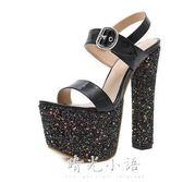 歐美新款18公分超高跟鞋粗跟16cm恨天高時尚性感17CM夜店女王涼鞋 晴光小語