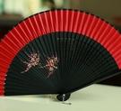 精品女扇日式和風扇竹柄折扇真絲手繪扇舞蹈扇旗袍扇 大紅色