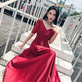 新娘敬酒禮服2018秋冬新款酒紅長款緞面蕾絲鑲鑚宴會大碼晚禮服女