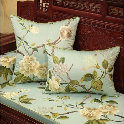 新中式繡花抱枕歐式美式紅木沙發靠墊床頭靠包辦公大靠枕
