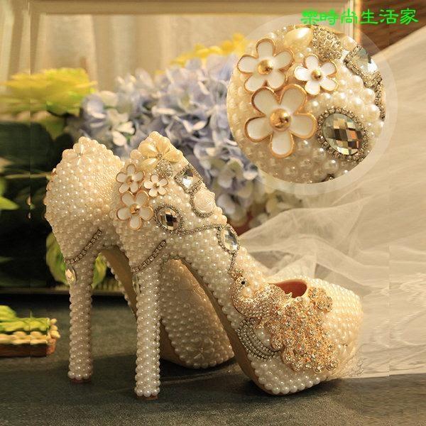 2017結婚敬酒 珍珠水鑽新娘婚鞋 防水台真皮內裡新娘鞋 婚鞋 高跟鞋F045