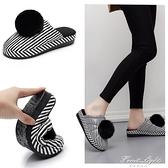 2020新款棉拖鞋女秋冬季女士可愛皮面防水室內冬厚底坡跟托鞋家用 果果輕時尚