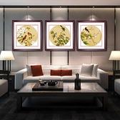 花鳥圖有框畫客廳裝飾畫臥室餐廳墻畫壁畫掛畫余稚圓形【聚寶屋】
