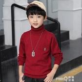 加絨男童毛衣高領針織衫打底衫中大童男孩套頭羊毛衫兒童秋冬線衣  (pink Q時尚女裝)