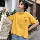 polo衫 軟妹polo衫短袖t恤女日系韓版寬鬆ins潮學生原宿bf風短款刺繡上衣