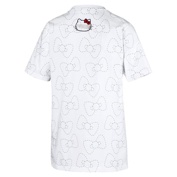 Puma Hello Kitty 女 白色 短袖 上衣 圓領 T恤 棉質 聯名款 運動 休閒 短T 59723602