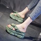 厚底拖鞋女外穿夏季高跟一字拖懶人內增高涼拖【貼身日記】