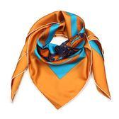 HERMES 馬鞍圖騰真絲方型披肩圍巾(橘色)179138