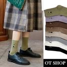 OT SHOP [現貨] 襪子 中筒襪 運動襪 棉質 卡通圖案刺繡 森林系 復古文青 日系百搭學院風 八色 M1096