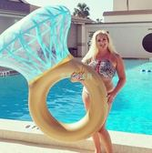 降價兩天-泳圈充氣大鉆石戒指游泳圈成人水上浮床兒童戲水網紅度假浮排